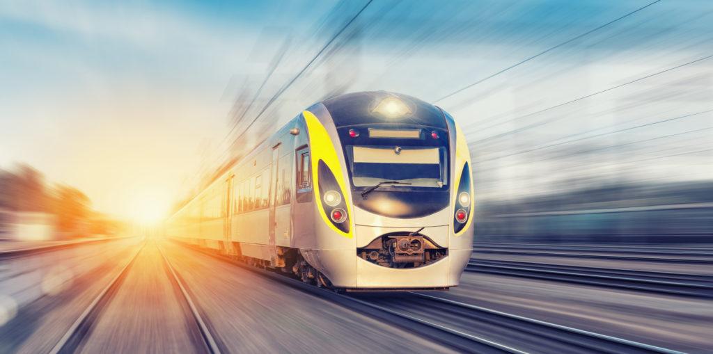 A high speed rail train speeds by