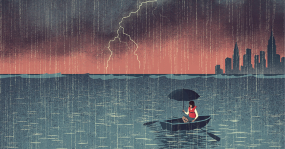 A cartoon of a woman in a row boat as a rain storm floods the city around her