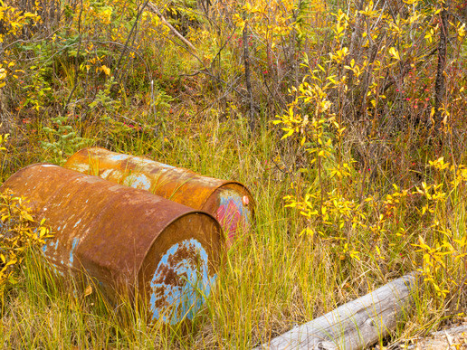 Environmental hazard: Metal drums with unknown content are rusting dicarded in fall colored nature.